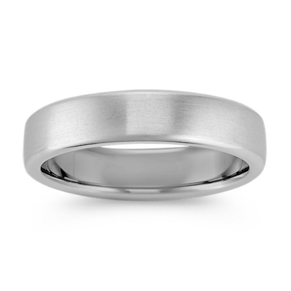 14k White Gold Euro Comfort Fit Wedding Band with Satin Finish (5.5mm)