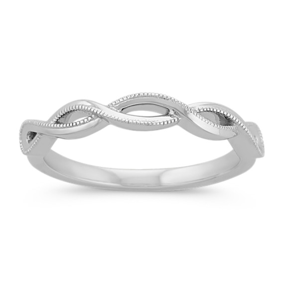 14k White Gold Infinity Swirl Wedding Band with Milgrain Detailing