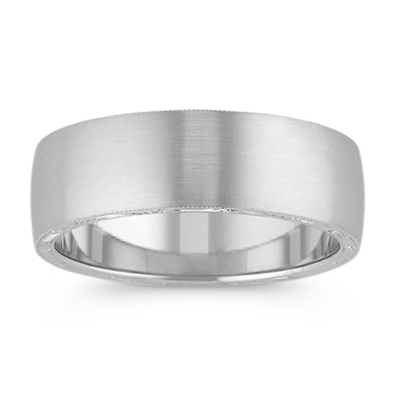 14k White Gold Mens Ring with Engraving (7mm)