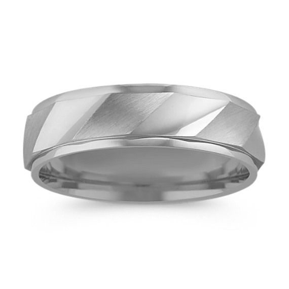 14k White Gold Ring with Alternating Brushed and Polished Finishes (6mm)