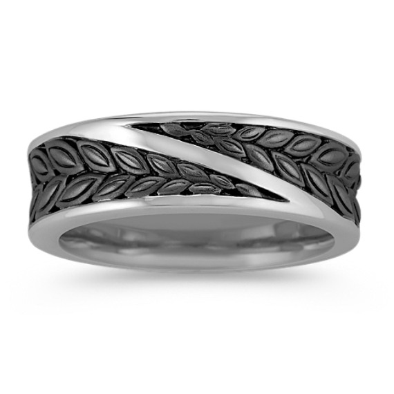 14k White Gold Ring with Black Rhodium (7mm)