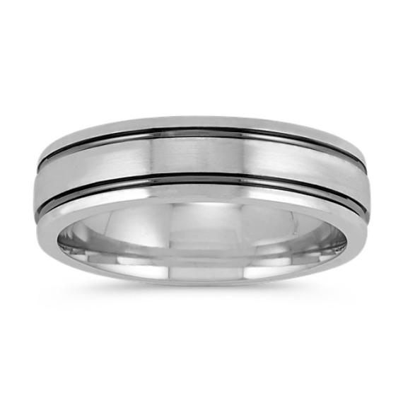14k White Gold Ring with Black Rhodium Line Accents (6mm)