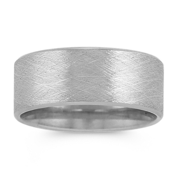 14k White Gold Ring with Brushed Finish (9mm)