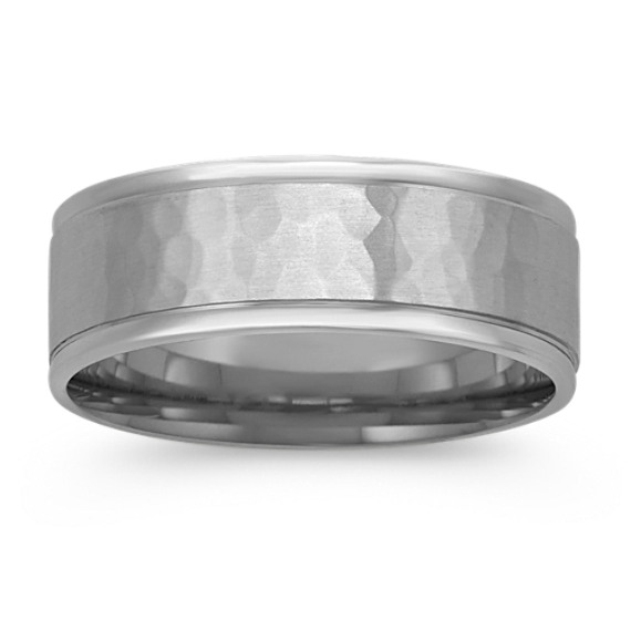 14k White Gold Ring with Hammered Finish (7.5mm)