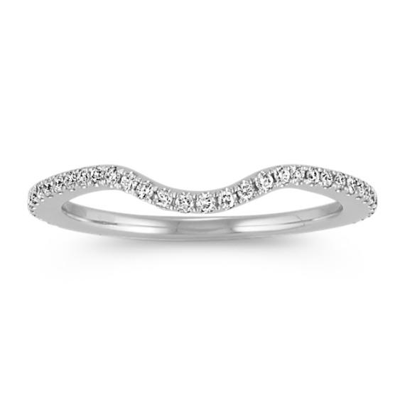 14k White Gold Round Diamond Contour Wedding Band