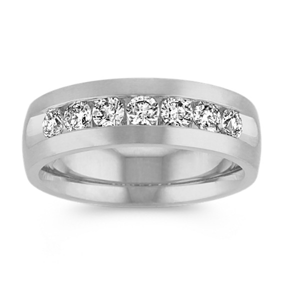 14k White Gold Round Diamond Ring (7mm)
