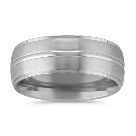 14k White Gold Satin Finished Comfort Fit Band (8mm)