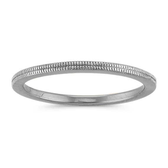 14k White Gold Stackable Ring with Milgrain Detailing