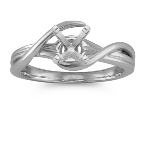 14k White Gold Swirl Engagement Ring