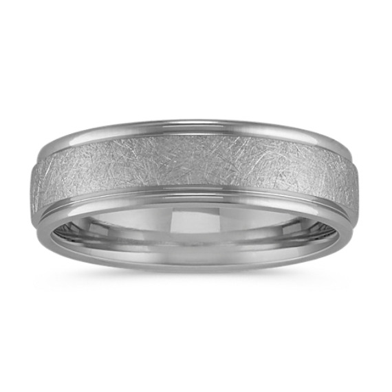 14k White Gold Textured Mens Comfort Fit Ring (6.5mm)