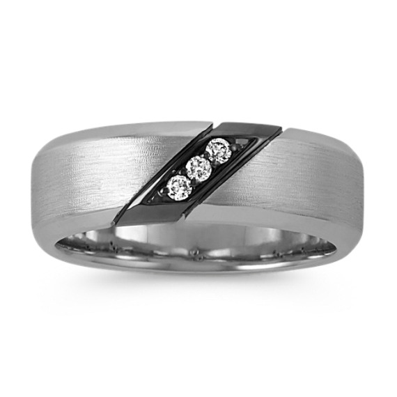 14k White Gold Three-Stone Diamond Ring with Black Rhodium Accent (7.5mm)