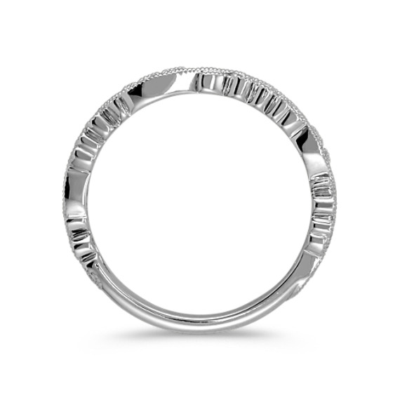 14k White Gold Vintage Wedding Band image