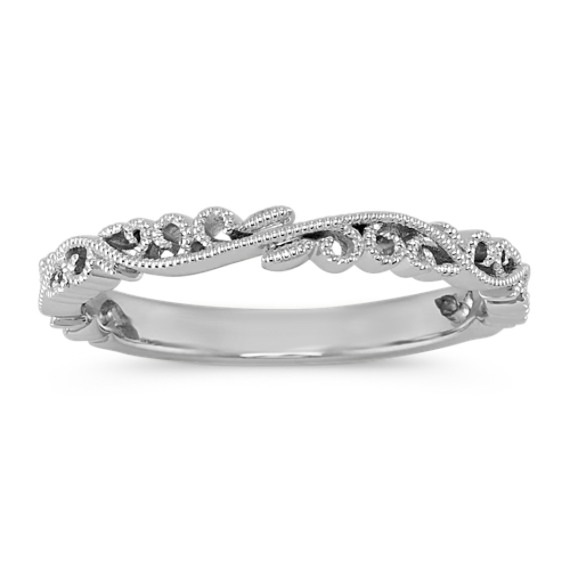 14k White Gold Vintage Wedding Band