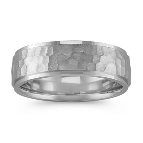 14k White Gold & Sterling Silver Band with Hammered Finish (7mm)
