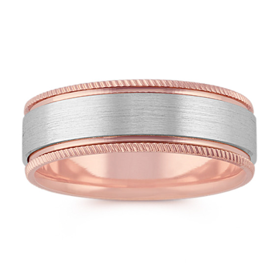 14k White and Rose Gold Comfort Fit Band (7mm)