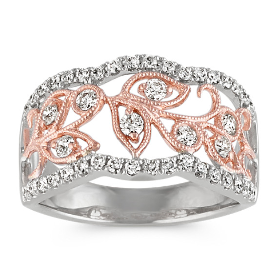 14k White and Rose Gold Diamond and Vine Ring
