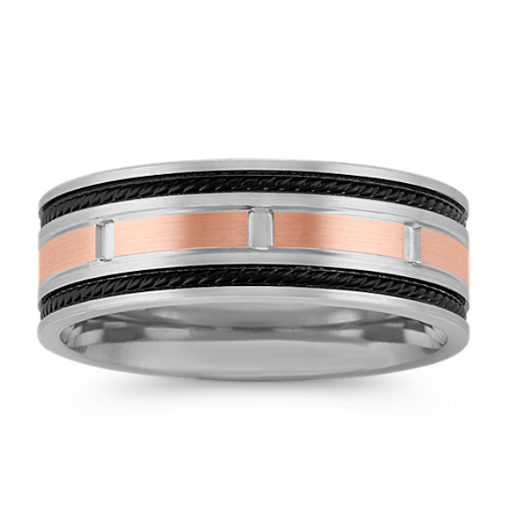 14k White and Rose Gold Ring with Black Rhodium Accent (8mm)