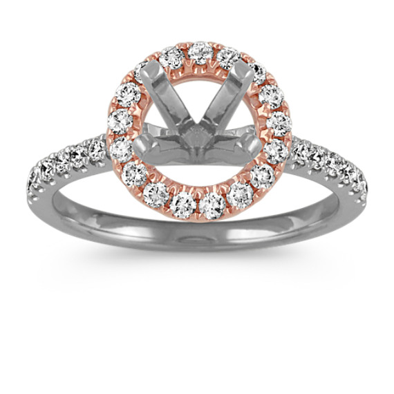 14k White and Rose Gold Round Halo Diamond Engagement Ring