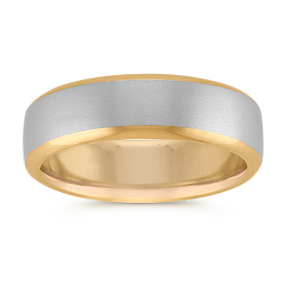 14k White and Yellow Gold Euro Comfort Fit Ring (6.5mm)
