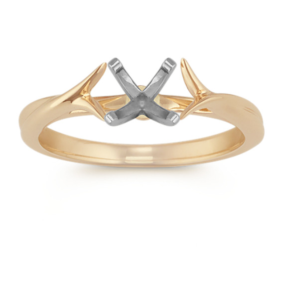 14k Yellow Gold Cathedral Engagement Ring