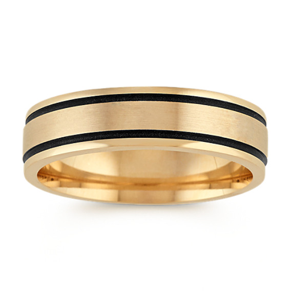 14k Yellow Gold Comfort Fit Ring with Black Rhodium (6mm)