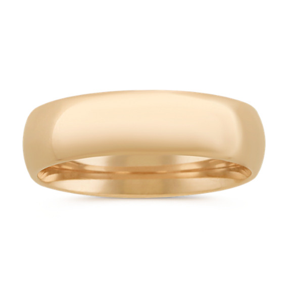 14k Yellow Gold Comfort Fit Wedding Band (6mm)