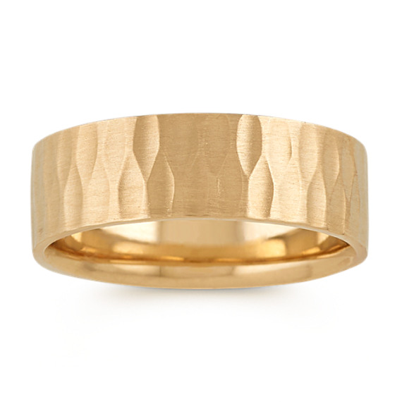 14k Yellow Gold Mens Band with Textured Finish (7mm)