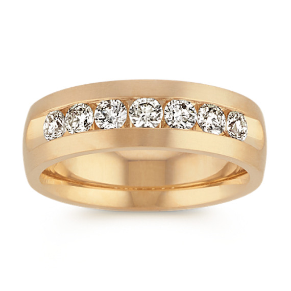 14k Yellow Gold Round Diamond Ring (7mm)