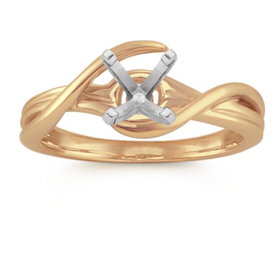 14k Yellow Gold Swirl Engagement Ring