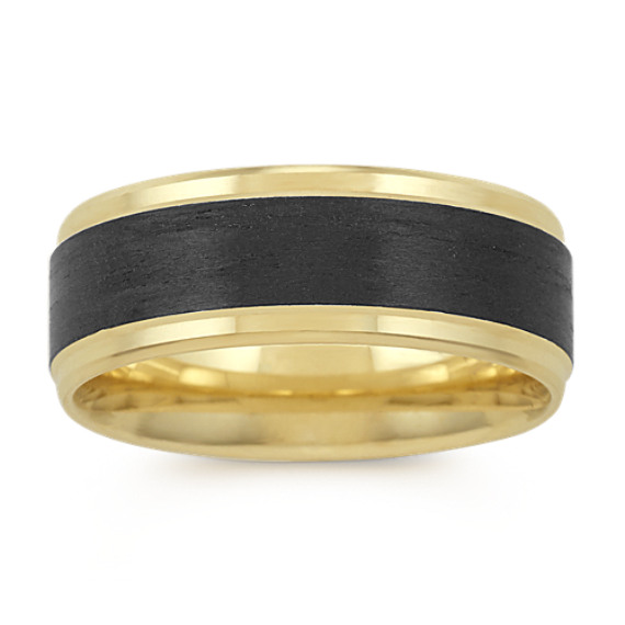 14k Yellow Gold and Carbon Fiber Ring (8mm)
