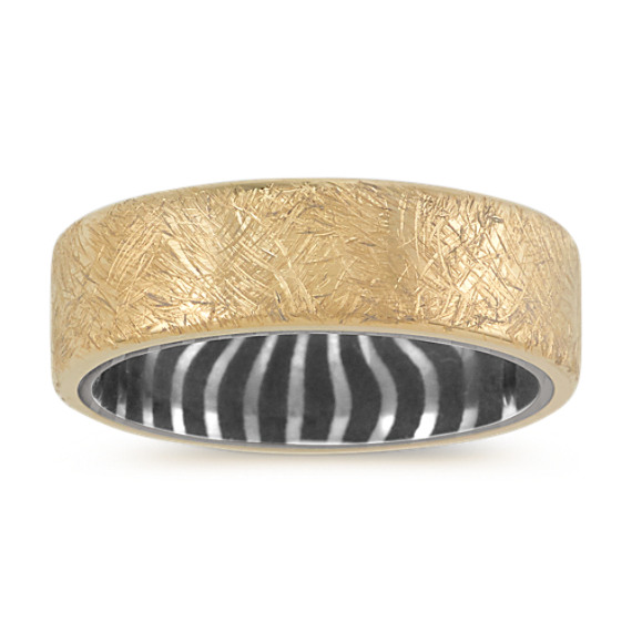14k Yellow Gold and Damascus Steel Band (7mm)