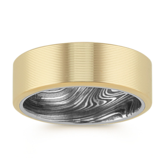 14k Yellow Gold and Damascus Steel Band (8mm)