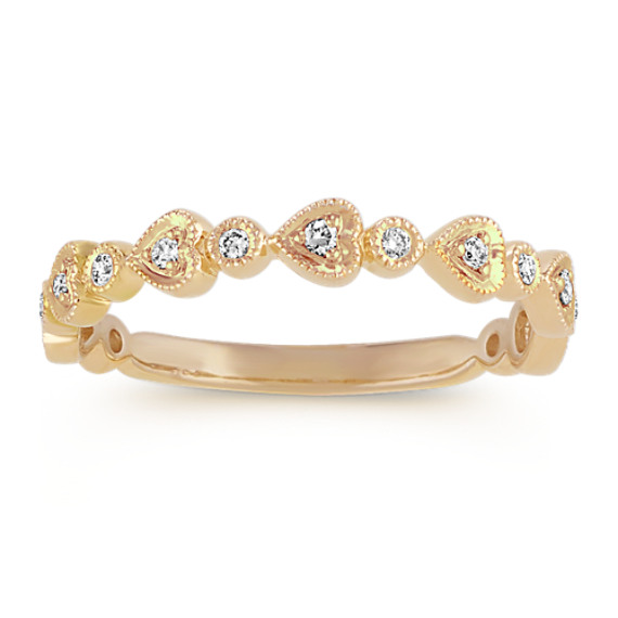 Diamond Heart Wedding Band in 14k Yellow Gold