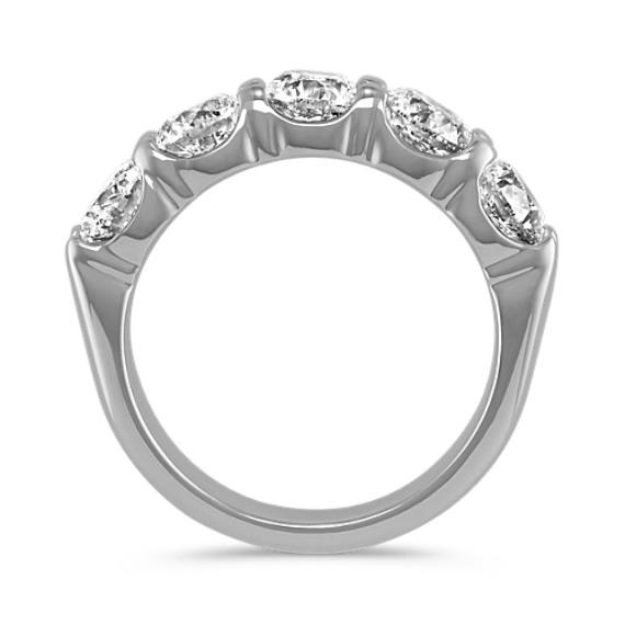 2.5ct. Five-Stone Round Diamond Wedding Band in 14k White Gold image