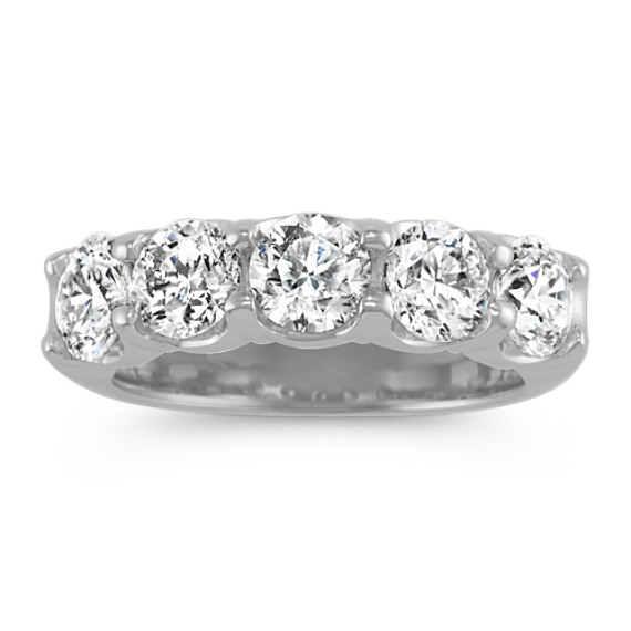 Five-Stone Round Diamond Wedding Band in 14k White Gold