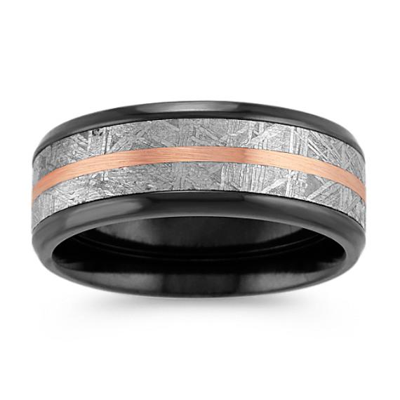 Textured Meteorite, Black Zirconium and 14k Rose Gold Ring (8mm)
