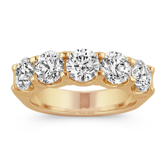 3ct Five-Stone Round Diamond Wedding Band in 14k Yellow Gold