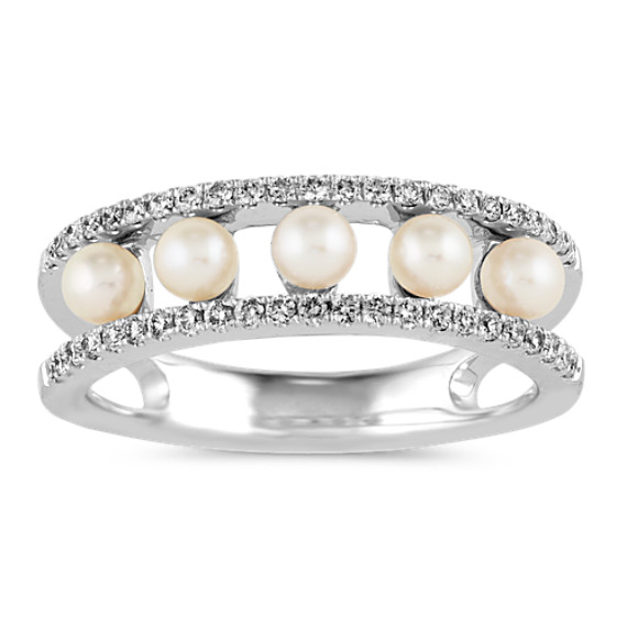 3mm White Akoya Pearl and Diamond Ring