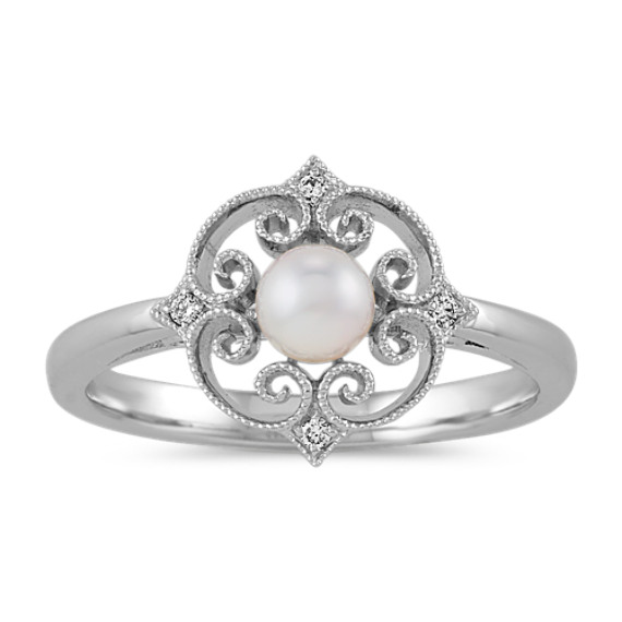 4.5mm Cultured Akoya and Diamond Vintage Ring