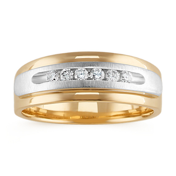 14k White and Yellow Gold Diamond Men's Ring