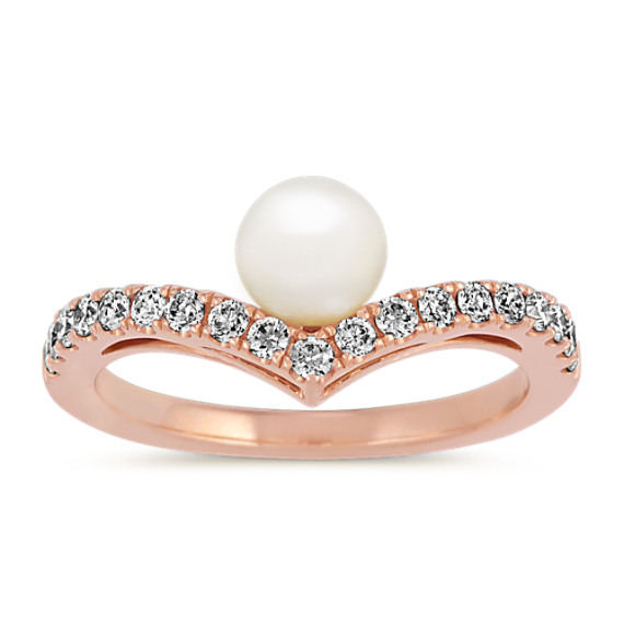 5.5mm Freshwater Pearl and Diamond Ring in 14k Rose Gold