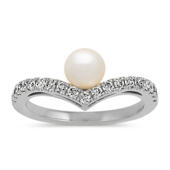 5.5mm Freshwater Pearl and Diamond Ring in 14k White Gold