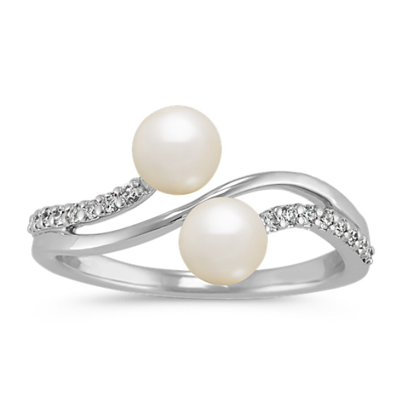 5mm Cultured Freshwater Pearl and Diamond Ring