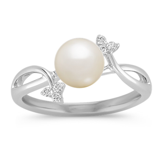 6.5mm Cultured Freshwater Pearl and Diamond Ring in Sterling Silver