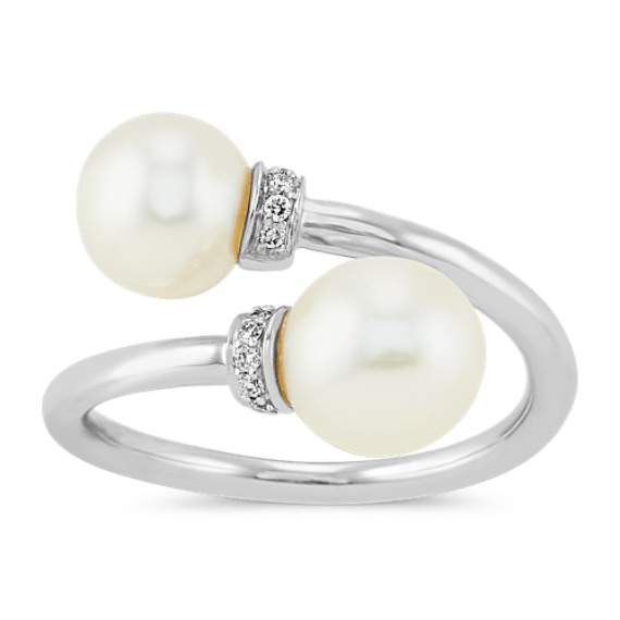 6.5-8mm Freshwater Pearl & Diamond Crossover Ring