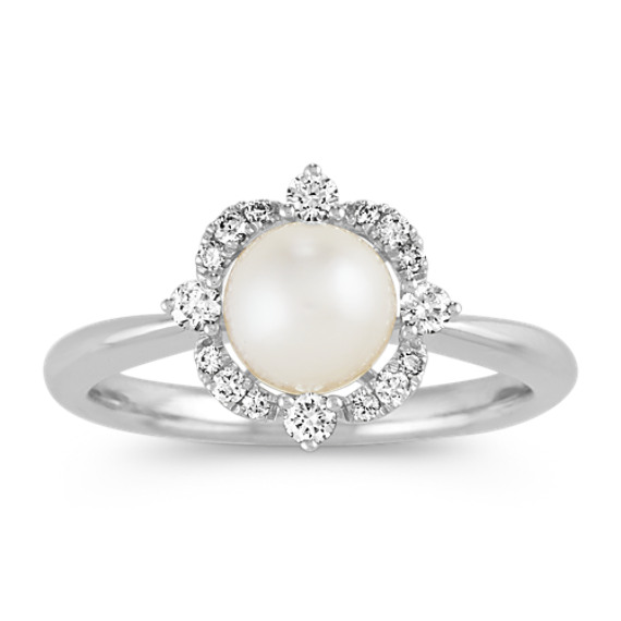 6mm Akoya Pearl and Diamond Ring in 14k White Gold