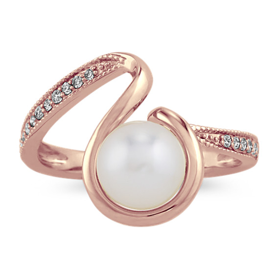7mm Akoya Pearl and Diamond Ring in 14k Rose Gold