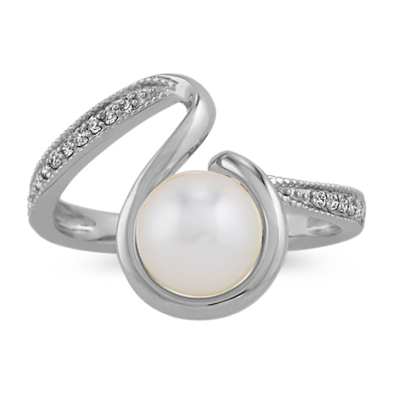 7mm Akoya Pearl and Diamond Ring in 14k White Gold