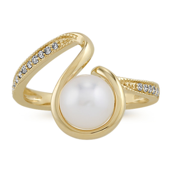 7mm Akoya Pearl and Diamond Ring in 14k Yellow Gold