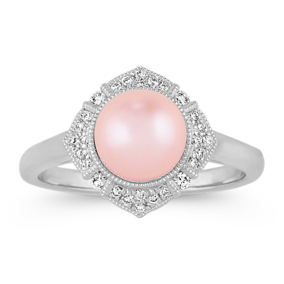 7mm Cultured Freshwater Pearl and Diamond Vintage Ring